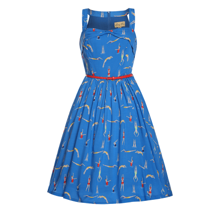 Double Thumbs Dresses #78 | 'Carmela' Blue Swimmer Print Swing Dress £32 from Lindy Bop