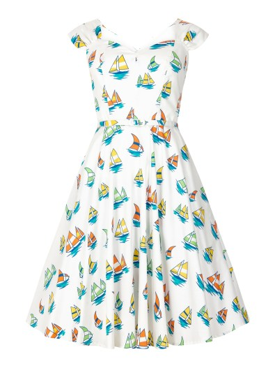 Double Thumbs Dresses #86 | Sandra Boat Print Dress £14.75 (reduced from £58.50) from Aida Zak at Collectif