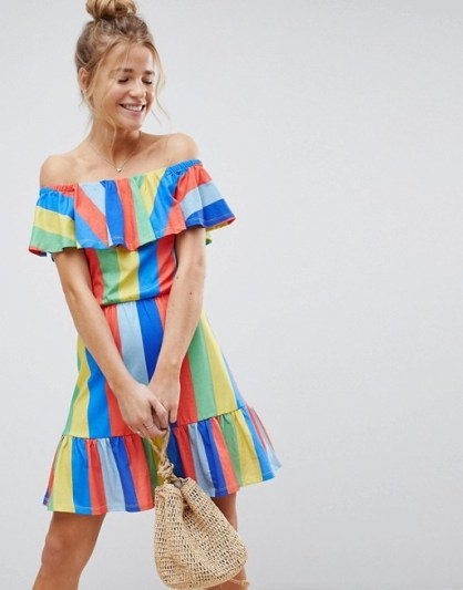 Off Shoulder Sundress With Tiered Skirt In Rainbow £18 from ASOS | She and Hem | Double Thumbs Dresses #92