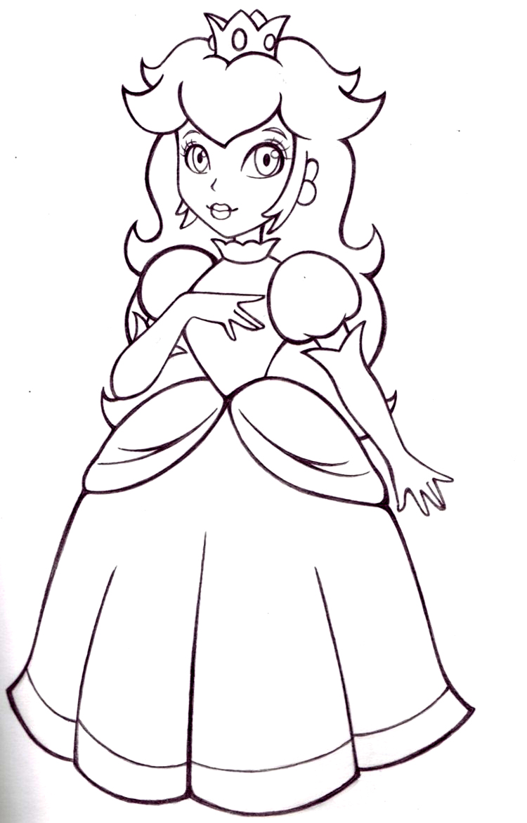 Mario Princess Peach Coloring Pages To