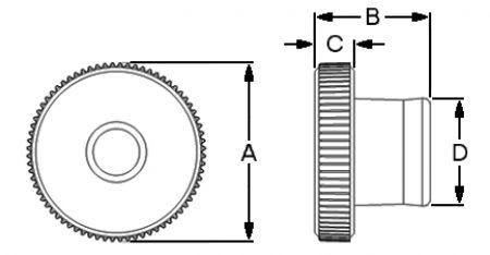 Knurled Thumbnut PT Dimensions