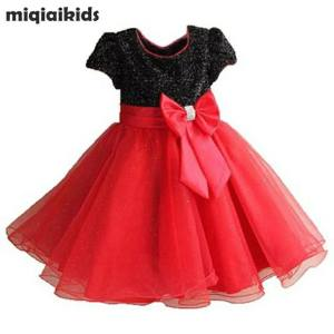 Red & Black Color Combination Dress For Kids Girl