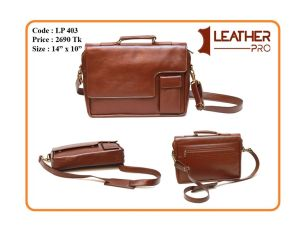 Brown Genuine Leather Office Bag (File & laptop)