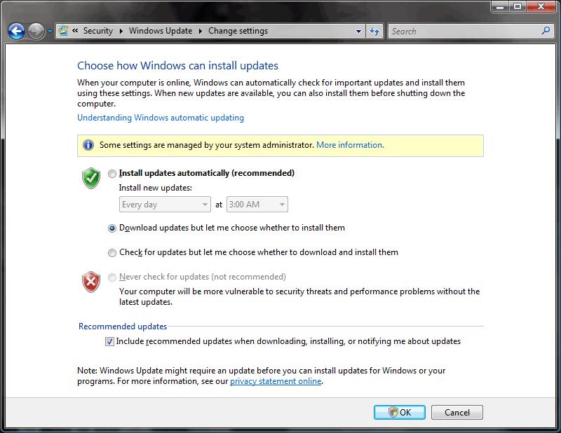 Vista Update SettingsDialog