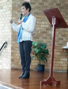 Gillian Lloyd welcoming writers at last year's convention