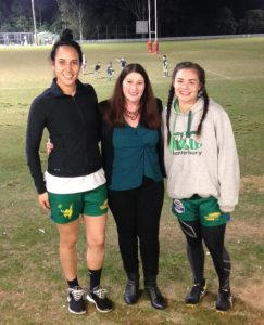 Michelle Beesley with speedsters Tiana Tamati (halfback) and Kayla Tukuafu (wing)