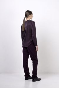 Black ODOWD label silky shirt with the relaxed pant. Source credit: Flaunter / www.flaunter.com
