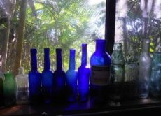 Beautiful, old blue bottles