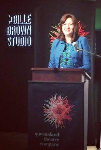 The Premier announcing the winner, Michelle Lee