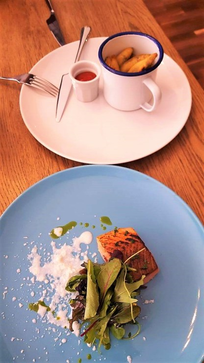 Crispy whitebait fish and bloody mary ketchup and salmon with buttermilk and dill starters at the cellar door restaurant in Hereford