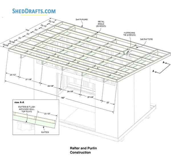 12×12 Lean To Storage Shed Plans Blueprints To Set Up