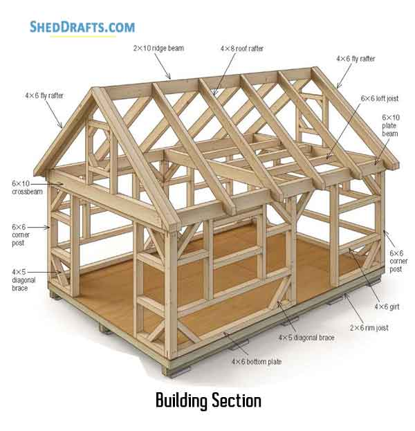 14 215 20 Post Beam Barn Shed Plans Blueprints For Assembling