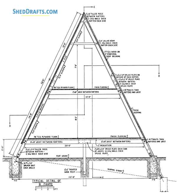 24×24 A Frame Cabin Shed Plans Blueprints To Craft A Home Shed