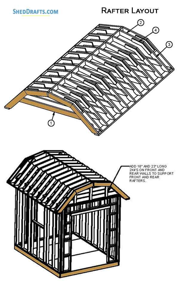 8×10 Gambrel Roof Storage Shed Plans Blueprints For