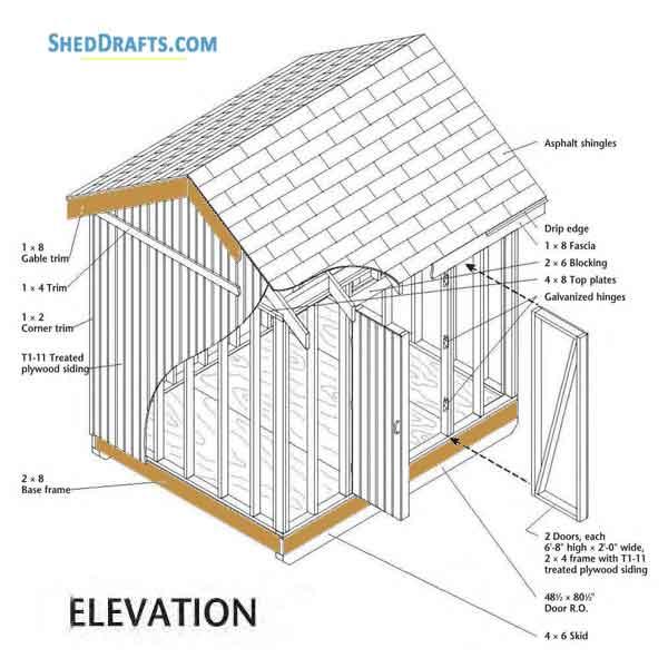 8×10 DIY Storage Shed Plans Blueprints To Assemble A