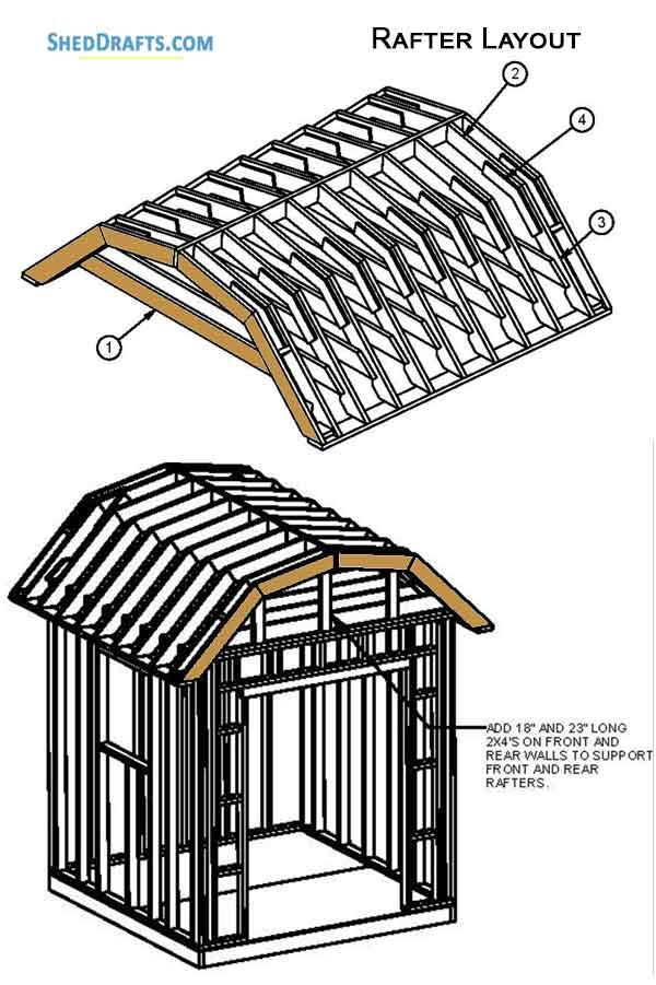 8×8 Gambrel Storage Shed Plans Blueprints To Set Up