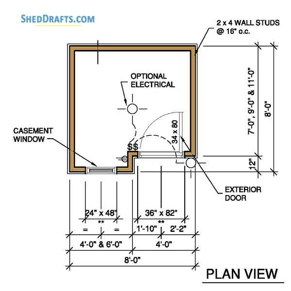 8×8 Wooden Storage Shed Plans Blueprints To Set Up Patio Shed