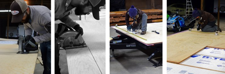 Cutting a notch in the subfloor for the wheel well and glueing and screwing it to the joists.