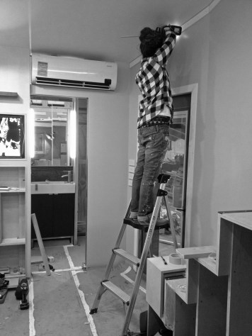 """Ceiling trim! We are leaving a 1/4"""" reveal between the top of the trim and the ceiling to create a shadow line in an attempt to camoflage any ceiling plane inconsistences"""