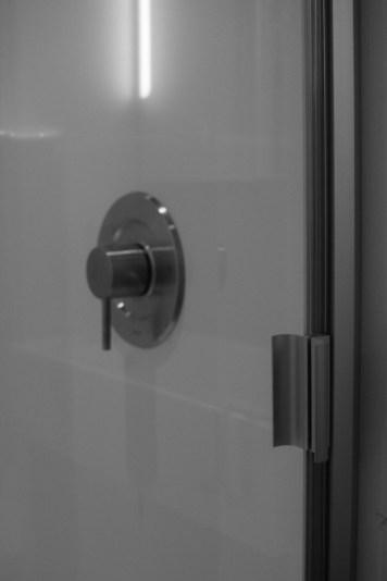 semi-frameless shower door is installed!