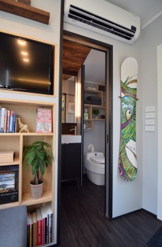 Bathroom pocket door open