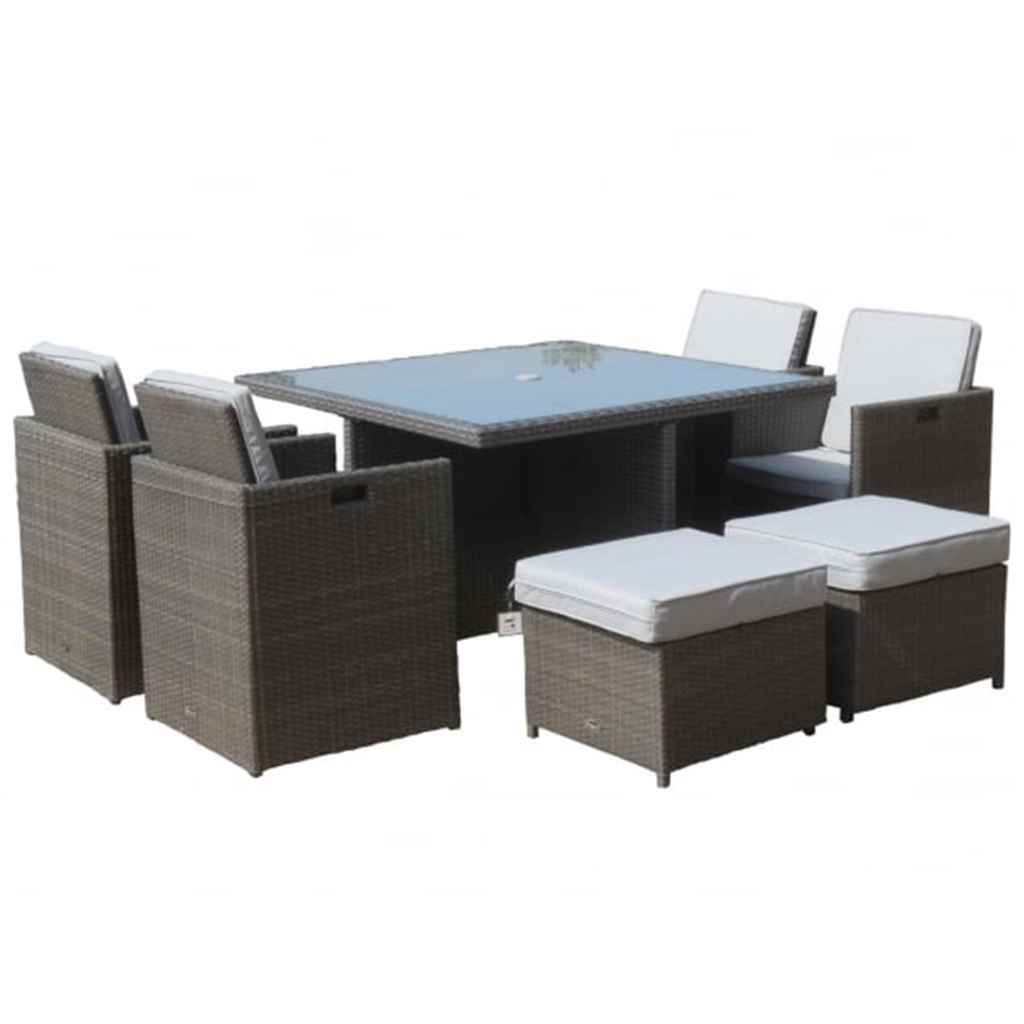 Cube Chairs Shedswarehouse Garden Furniture Marlow Flat Weave Slate Grey Oos 8 Seater Marlow Deluxe Cube Set 125cm Square Table With Parasol