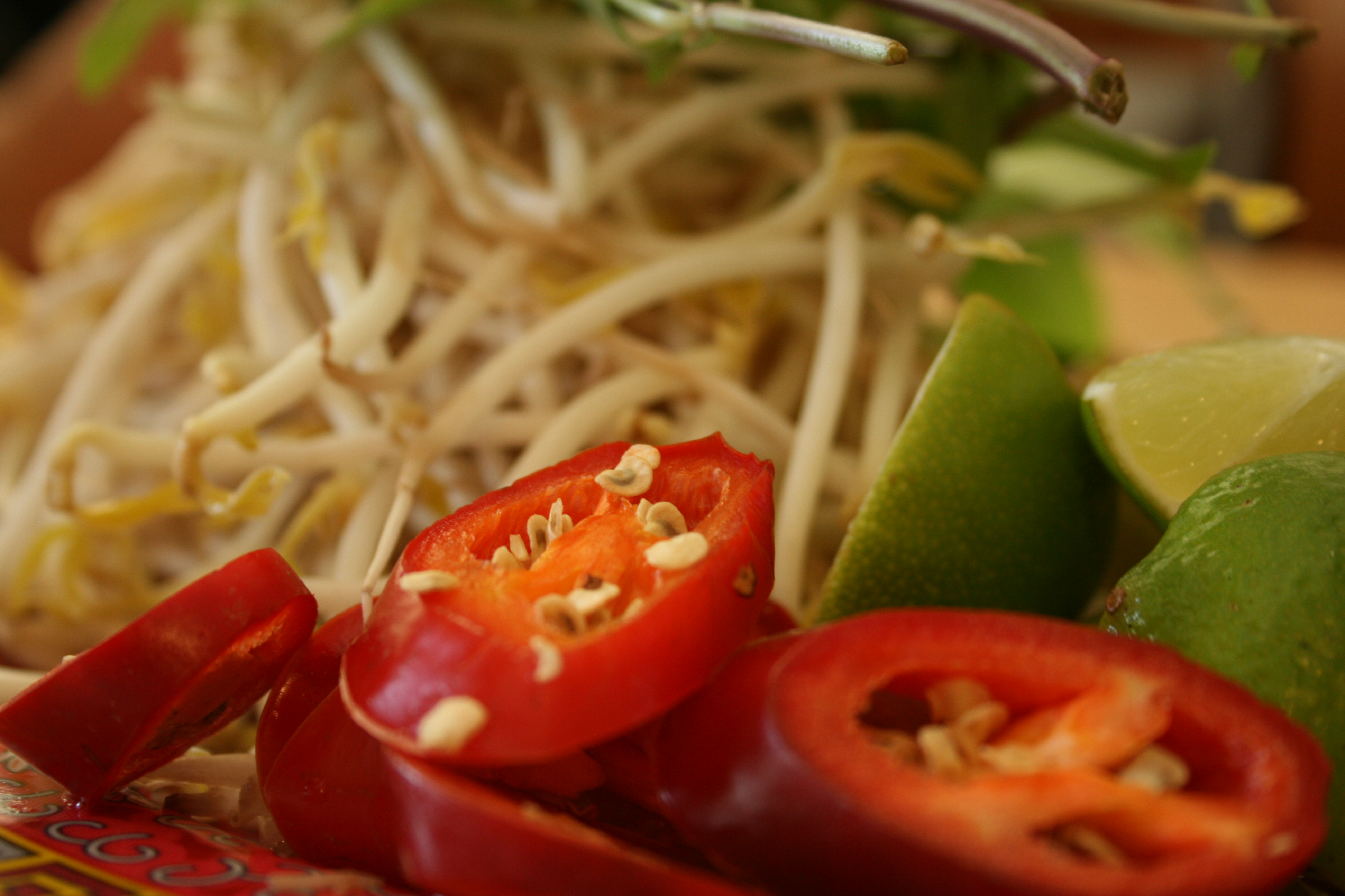 Jalapenos, limes and bean sprouts for the pho