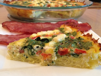 Spinach, Tomato & Goat Cheese Breakfast Pie