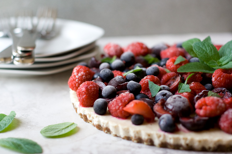 Raw Cherry Berry Cream Pie