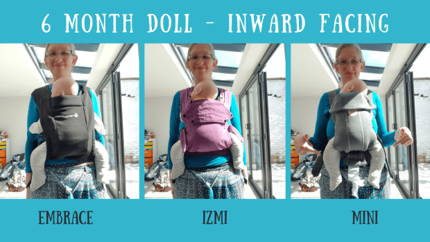 Comparing the Ergobaby Embrace (black), Izmi Baby (purple) and the Baby Bjorn Mini (grey) carriers in a inward facing carry with a 6 month equivalent sized weighted doll