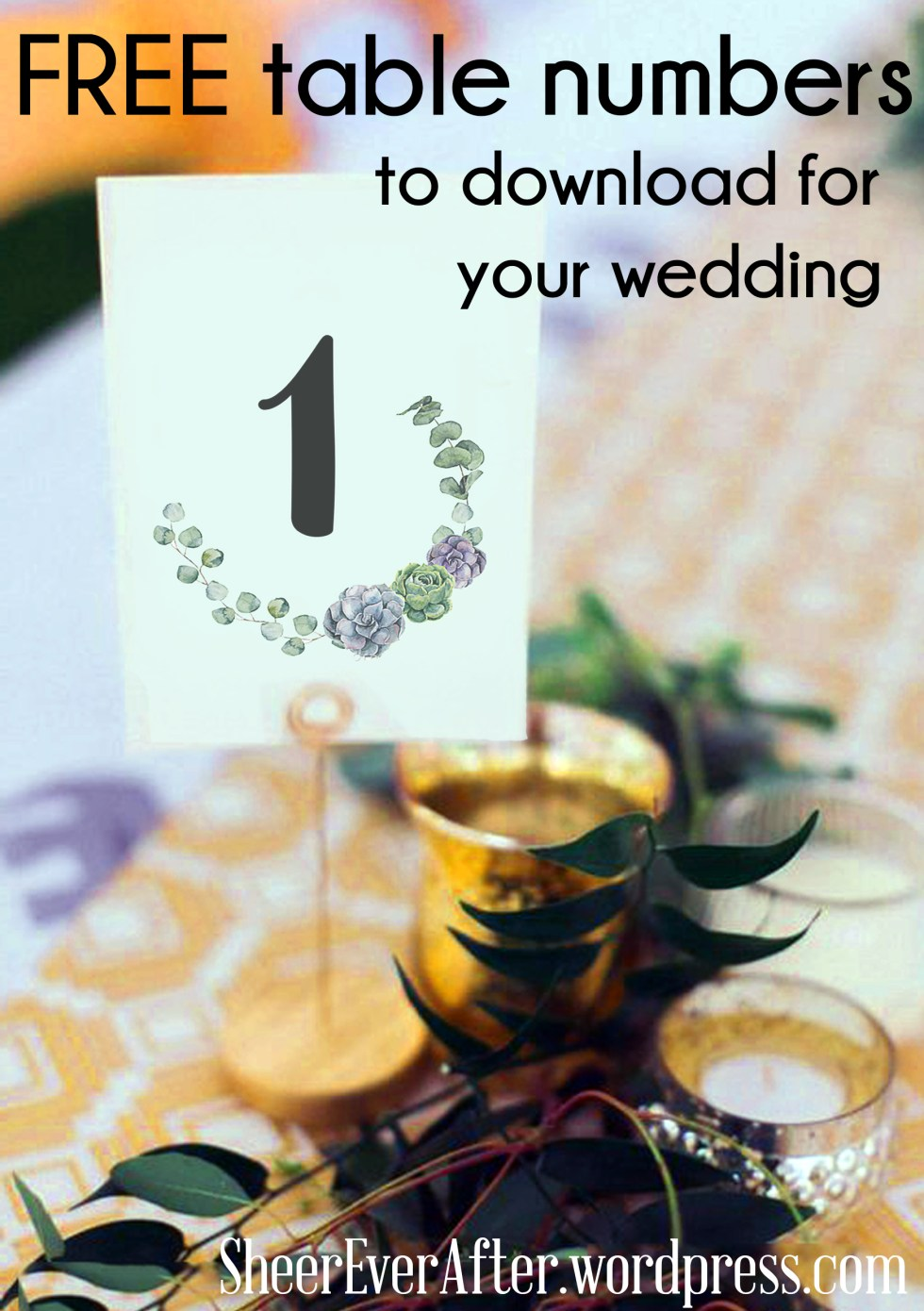 Free table numbers from Sheer Ever After