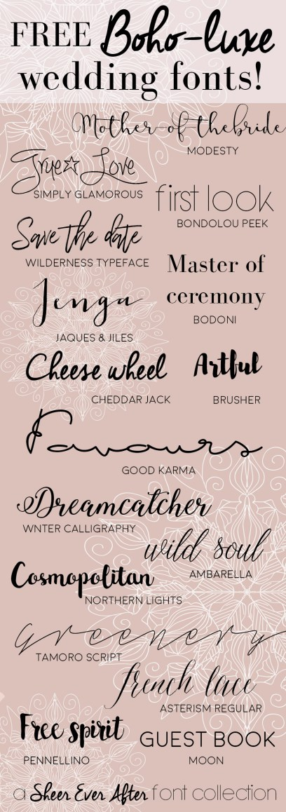 Free Boho-luxe fonts for your graphic wedding projects