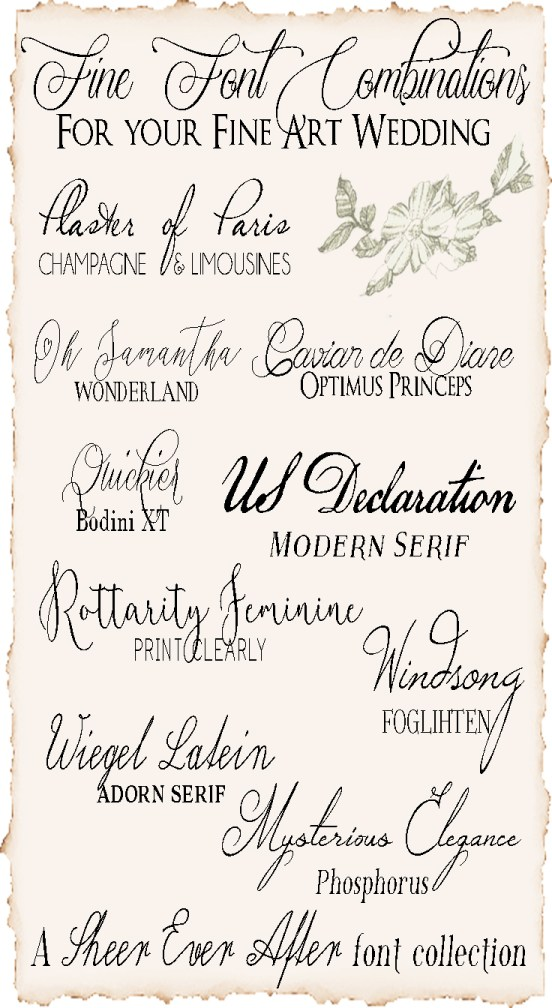 Fine Art Wedding Font Combos
