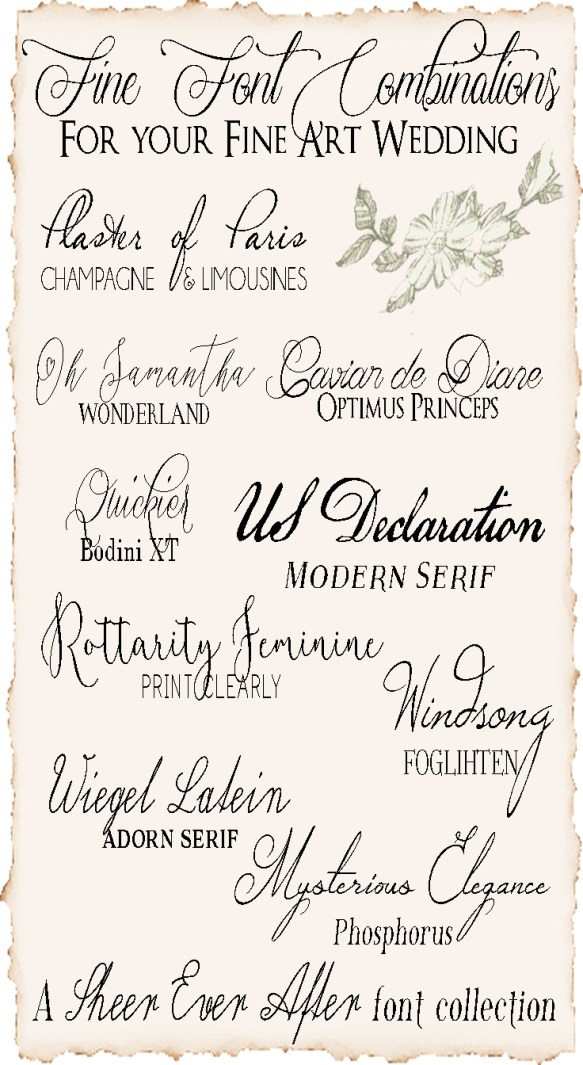 FREE Fonts Combos For Your Fine Art Wedding Calligraphy
