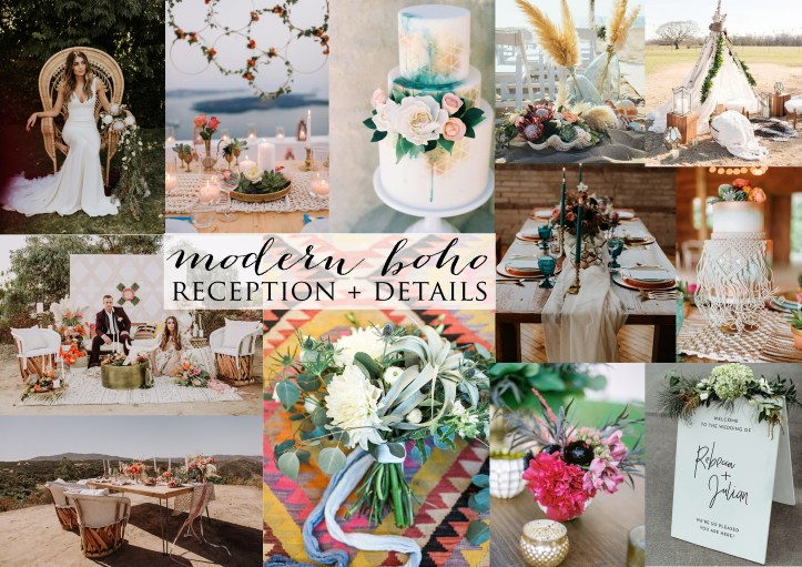Modern Boho reception and details