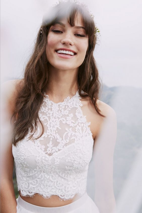 These bridal crop tops are sure to turn heads   SheerEverAfter.com   Your Online Maid of Honor