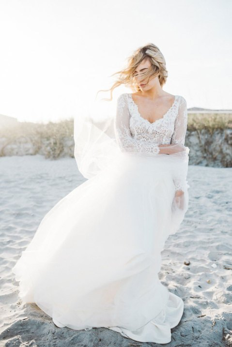 Boho beach 2 piece wedding dress
