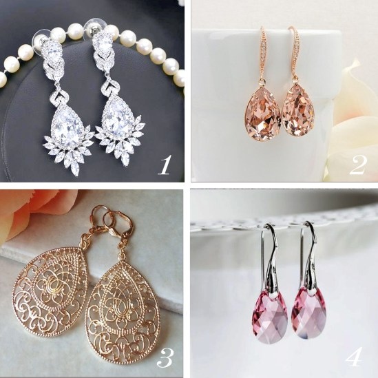 Find out which style of earrings fits your facial feature and wedding style | SheerEverAfter.com | Your online maid of honor