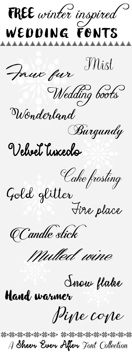 100% FREE wedding fonts - inspired by winter   SheerEverAfter.com