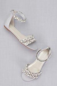 Embellished blue wedding sandals | 20 unique and wearable Wedding Shoes | More shoespiration at sheerbride.com #bridal #wedding #wedding shoes #heels