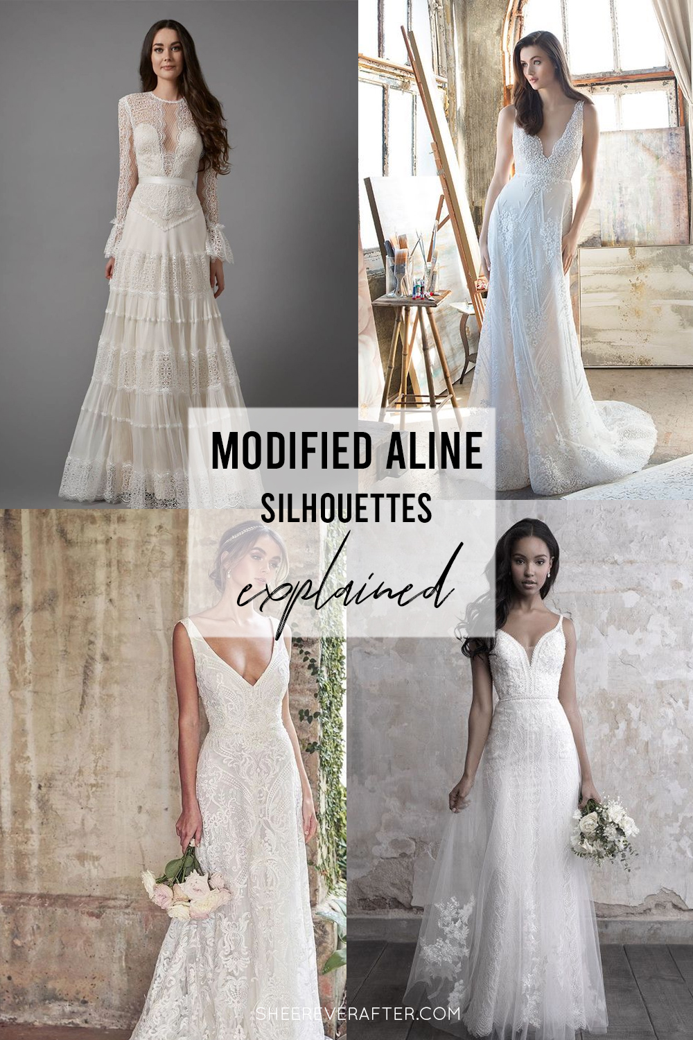 #weddingdress #weddingdresssilhouettes #bridalgown #bridal #weddingday #weddingideas #beautifuldress #aline #modifiedaline