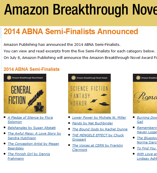 I'm in there with the ABNA semi-finalists -- I'm not just making it up!