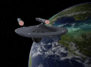 Enterprise orbiting a planet