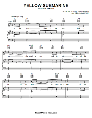 Free Download Yellow Submarine Sheet Music PDF The Beatles