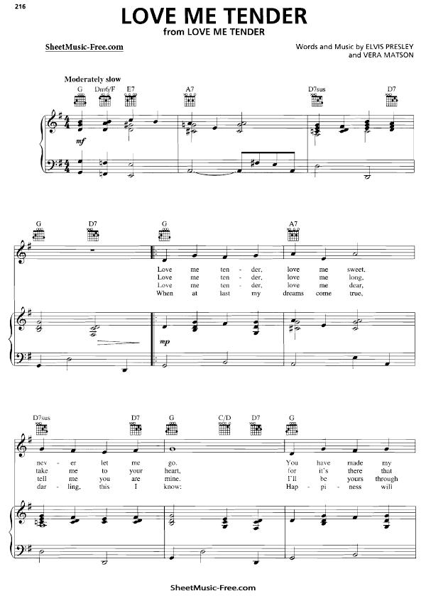 Download Love Me Tender Sheet Music PDF Elvis Presley