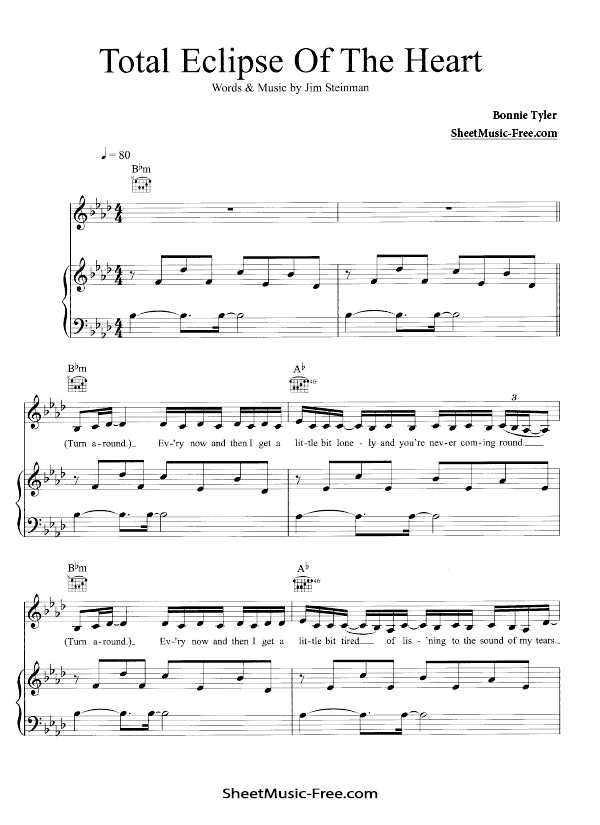 Download Total Eclipse Of The Heart Sheet Music Bonnie Tyler