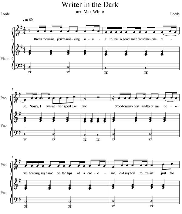 Download Writer In The Dark Sheet Music PDF Lorde
