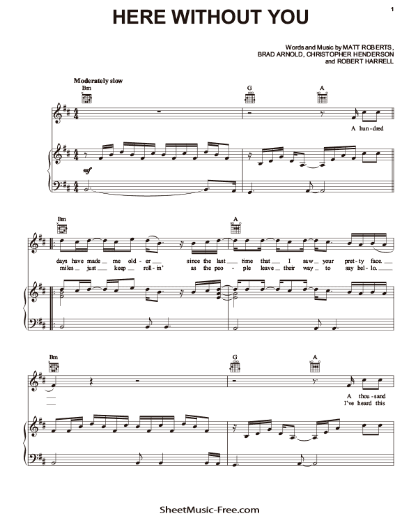 Download Here Without You Sheet Music PDF 3 Doors Down