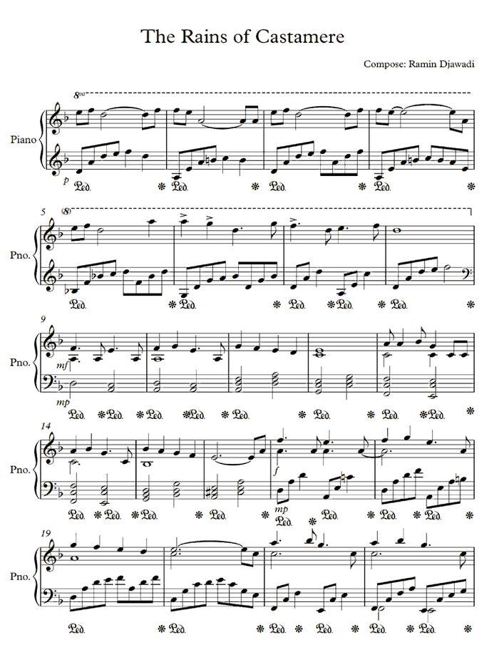 The Rains of Castamere (Game of Thrones) free sheet music by Ramin Djawadi | Pianoshelf