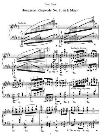 Hungarian Rhapsody No.10 (Preludio) free sheet music by